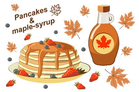 Pancakes with berries and maple syrup. Tasty breakfast. Bakery products. Traditional food. Natural product. Maple leaves. Maple syrup in a traditional bottle. Beautiful vector illustration.