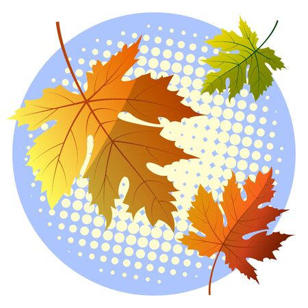 Yellowed maple leaves on an interesting blue background. Autumn vector illustration.