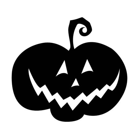 Pumpkin Jack for Halloween. Pumpkin lantern. Black isolated object on a white background. Feast of all saints. Vector illustration. Symbol. Silhouette. Circuit.