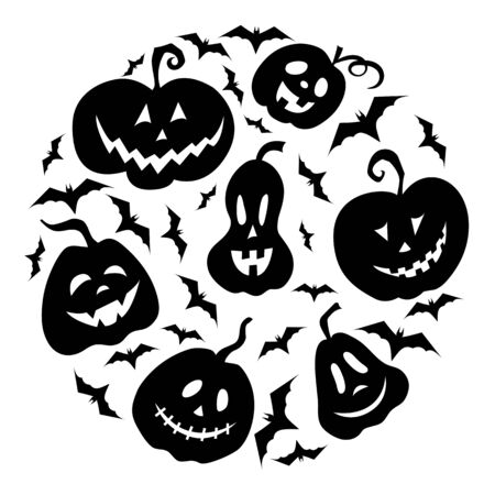 Pumpkin Jack and bats for Halloween set. Pumpkin Lantern. Black isolated object on a white background. Feast of all saints. Vector illustration. Symbol. Silhouette. Decorations for the holiday. 向量圖像