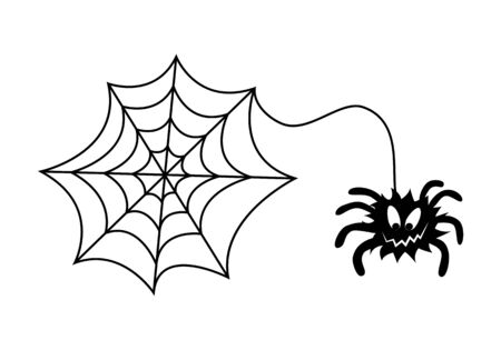Spider and web, Halloween decorations. Black silhouette on a white background. Isolated objects. Feast of all saints. Template. Circuit. Holiday. Insect. Illusztráció