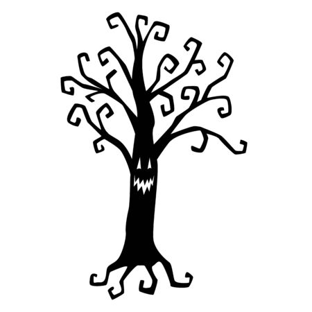 Spooky tree black silhouette. Halloween decoration. Isolated object on a white background. Template.