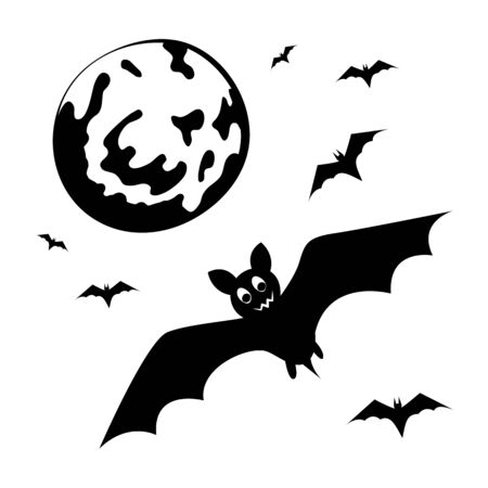 Bats and the moon. Black silhouette of halloween decoration. Isolated object. Template. Creepy. artoon