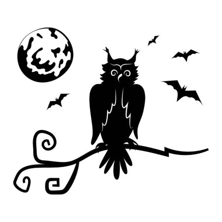 Owl, bats and the moon. Black silhouette of halloween decoration. Isolated object Template. Creepy. Cartoon.