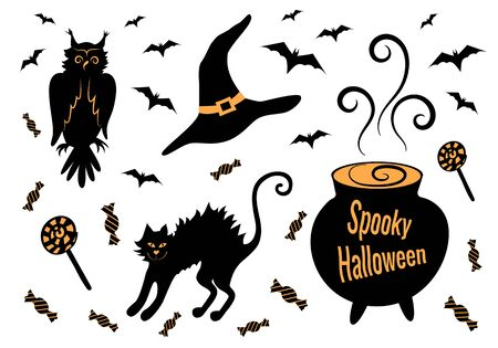 Spooky Halloween holiday decoration set: owl, black cat, cauldron with potion, witch hat, bats and sweets. Black silhouette. Isolated objects on a white background.