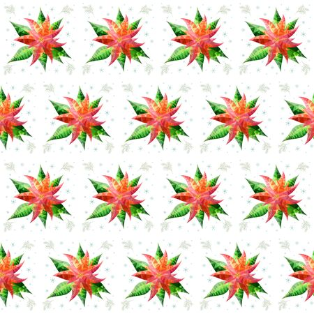 Poinsettia in low poly style vector seamless pattern. Merry Christmas flowers of seamless texture. Happy New Year. Snowflake. Fir branch. Textiles, wrapping paper, wallpaper design. Isolated objects Иллюстрация