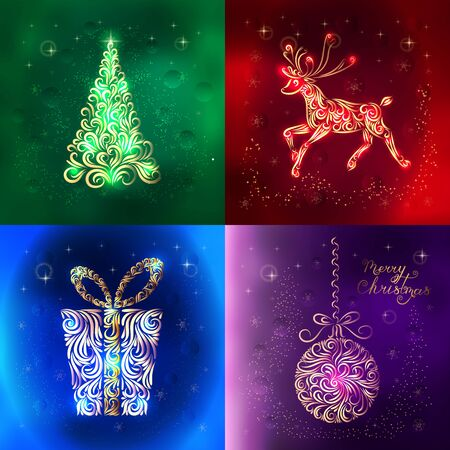 Christmas card set. Multicolored stylized cards with the image of Christmas tree, reindeer, Lettering merry Christmas, gift, Christmas balls. Happy New Year. Snowflake. Vector illustration. Stok Fotoğraf