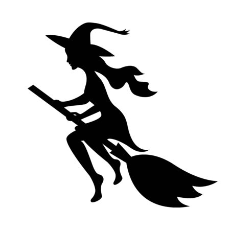 Witch on a broomstick black silhouette. Halloween Scary. Creepy. Decoration. Isolated object on a white background. Çizim