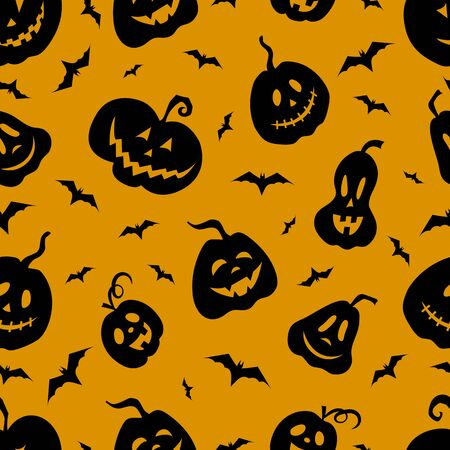 Pumpkins jack lantern and bats vector seamless pattern. Black silhouettes of seamless texture. Halloween. Textiles, wrapping paper, wallpaper design. Orange and black color.
