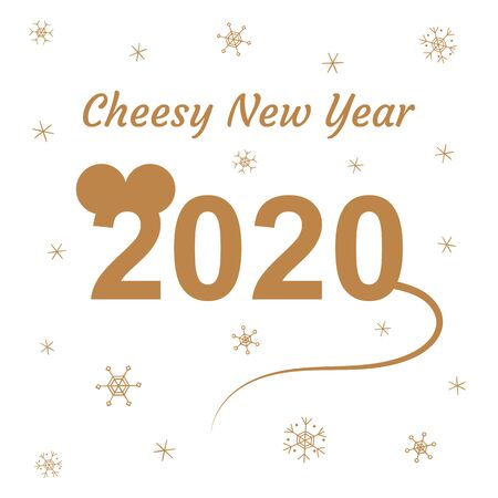 2020 in the shape of a mouse. Cheesy New Year. Silhouette. Snowflakes. Greeting card, banner, poster. Isolated objects on a white background. Holiday. Winter. The time of miracles. Dreams Golden color
