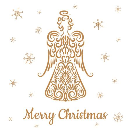 Christmas angel from ornament elements. Line drawing. Silhouette. Golden color. Isolated object on a white background. Snowflakes. Merry Christmas inscription. Greeting card, poster, banner. Holiday. Archivio Fotografico - 134956231
