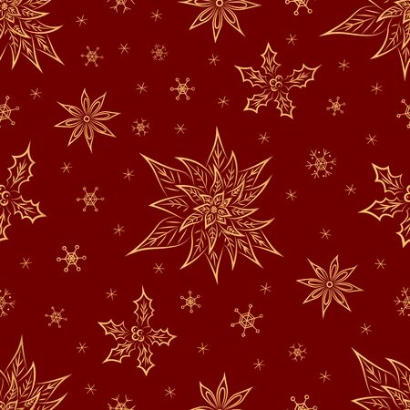 Christmas symbols from ornament elements and snowflakes vector seamless pattern. Stylized gold poinsettia, holly, anise star seamless texture. New Year. Textiles, wrapping paper, wallpaper design.