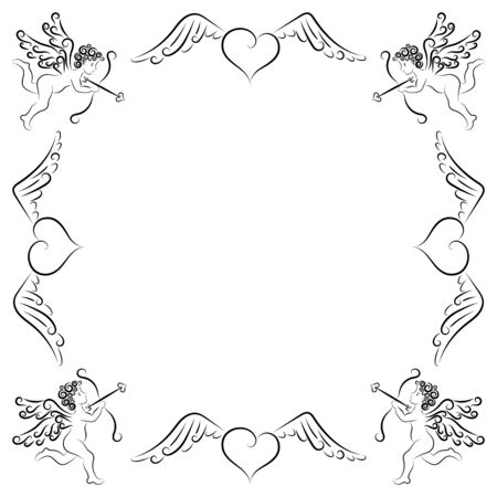 Stylized frame made of cupids and hearts with wings. Valentines day, love, wedding. Vector stock illustration. Isolated object on a white background. Line drawing. Ornament. Lace. Template for card.