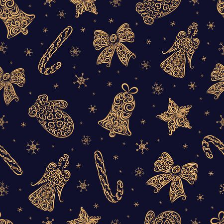 Christmas symbols from ornament element vector seamless pattern. Stylized bell, angel, star, mitten, caramel cane, bow, snowflake seamless texture. New Year. Textile, wrapping paper, wallpaper design