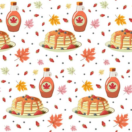 Pancakes with berries and maple syrup seamless pattern. Tasty breakfast and maple leaves seamless texture.
