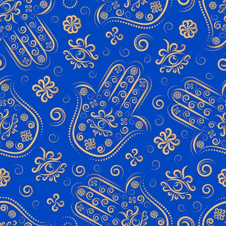 amsa line ornament vector seamless pattern. Hamsa Arab, Jewish palm protective amulet seamless texture. Textile, wrapping paper, wallpaper design. Miriam, Fatima, God hand. Stock illustration Ramadan Çizim