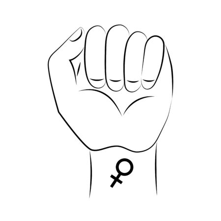 Symbol of feminism raised fist, mirror of venus. Hand with a tattoo. Happy Womens Day. March 8. Logo.