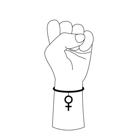 Symbol of feminism raised fist. Hand with a bracelet in the form of a mirror of Venus. Happy Womens Day. March 8.