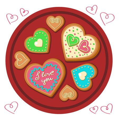 Gingerbread cookies in the form of a heart. Happy Valentines Day. The 14th of February. 写真素材 - 139752543