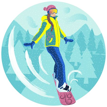 The girl is snowboarding. Winter sport. Ski resort. Snowboarding. Extreme descent from the mountain.