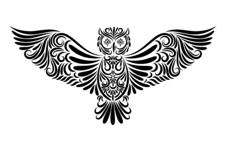 Stylized flying owl from the elements of the ornament. The bird is drawn in black line on a white background. Isolated item. Vector illustration. Tattoo. Symbol. To fly.