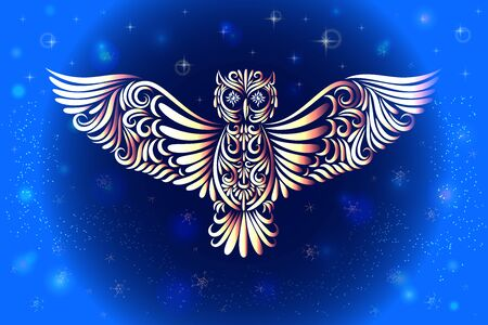 Owl from the elements of ornament. The bird is drawn from lines. Stock Illustratie