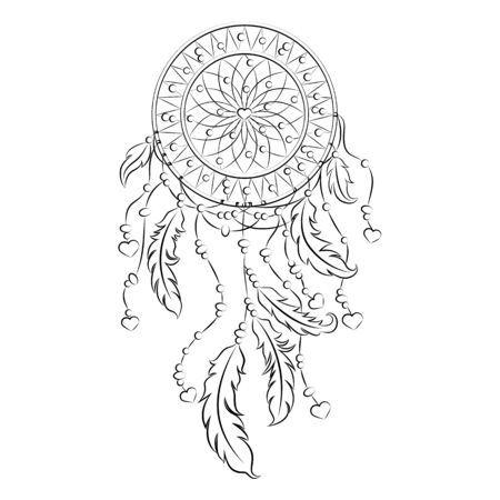 Beautiful dreamcatcher with feathers and hearts. Drawing a black line.