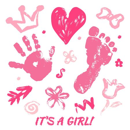 Imprint of the palm and feet of the baby, finger drawing of the heart, crown, bow, flower, arrow.