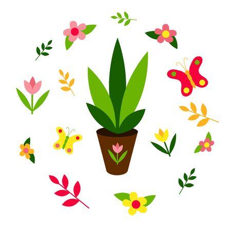 Garden seedlings. Spring set: butterflies, flowers, plants. Lettering Hello Spring. Flat design. Isolated elements on a white background. Vector illustration. Gardening.