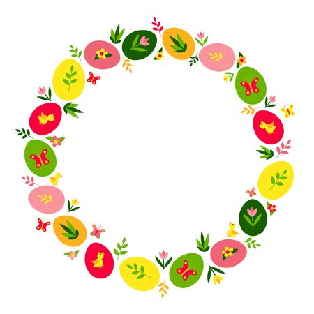 Easter wreath of multi-colored eggs with drawings, flowers, twigs, plants, butterflies and chickens. Festive vector illustration. Greeting card. Isolated objects on a white background. Copy space.