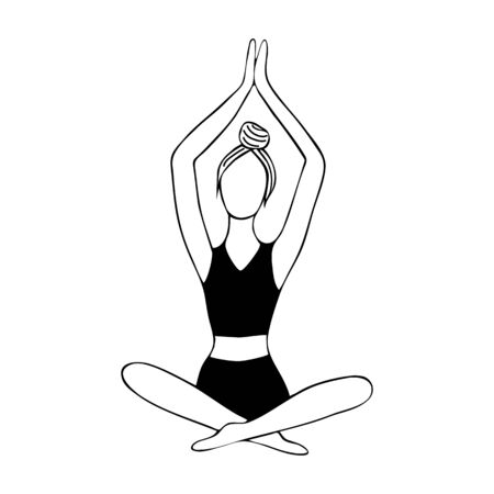 Meditation. Girl meditates hand draw with a black line. Namaskar. Image for your decor and design. Vector illustration. Decoration. Coloring. Isolated object on a white background. Yoga. Illustration