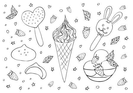 Ice cream set hand drawn black line Ilustração
