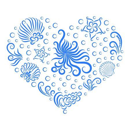 Decoración de mar en forma de corazón. Mundo submarino: pulpo, concha, alga, burbuja y estrella de mar. Dibujado por una línea.