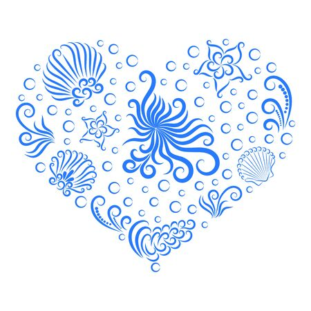 Sea decoration in the shape of a heart. Undersea world: octopus, shell, seaweed, bubble and starfish. Drawn by a line.