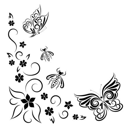 Butterflies, wasps and flowers. Summer stylized composition. Drawing a black line. Frame. Copy space. 向量圖像