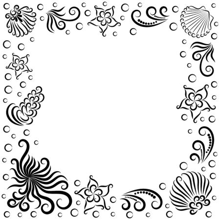 Frame of marine composition: octopus, shell, seaweed, bubble and starfish. Sea. Undersea world. Image for your design. Isolated objects on a white background. Vector illustration. Copy space. Template Ilustração