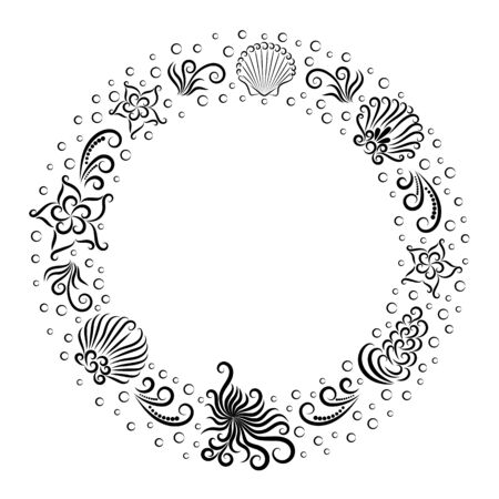 Wreath of marine composition: octopus, shell, seaweed, bubble and starfish. Sea. Undersea world.