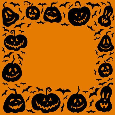 Frame of pumpkins and bats for Halloween. Image for your design: postcard, poster, banner. Vector illustration. Copy space. Template for your inscription. Image in black and orange color. Decoration. Ilustracje wektorowe
