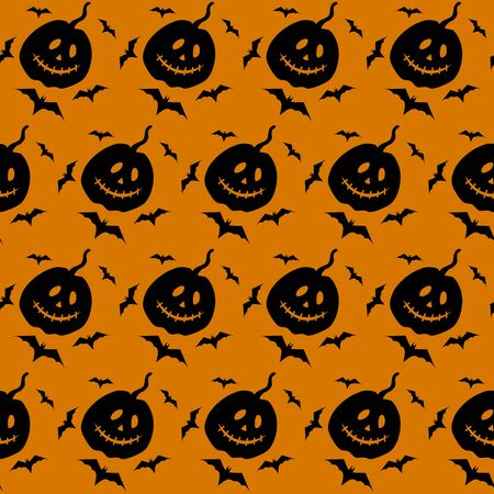 Pumpkin jack lantern and bat vector seamless pattern. Black silhouette of seamless texture. Spooky Halloween. Textile, wrapping paper, wallpaper design, packaging. Orange and black color. Illustration