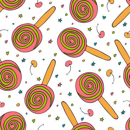 Round ice cream vector seamless pattern.  cherry seamless texture. Hand drawn. Illustration