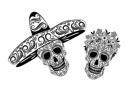 Skulls in Mexican sombrero headdresses and a wreath of flowers with an ornate pattern. Black isolated drawing on a white background. The day of the Dead. Vettoriali