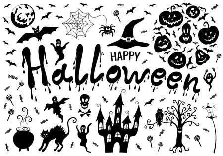 Halloween decoration set black: pumpkin jack lanterns, bats, spider and cobweb, witch hat, ghosts, creepy castle, tree, cat, owl, cauldron with potion, full moon. lettering dripping paint.