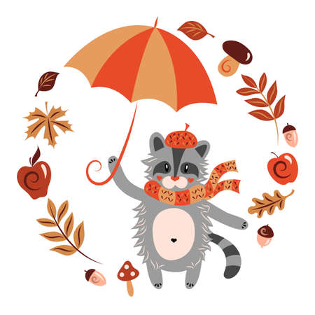 Raccoon in a warm hat with a scarf and an umbrella. Autumn character. Animal, yellowed leaves of maple, oak, birch, acorn, apple, rowan berries. Isolated objects white background. Vector