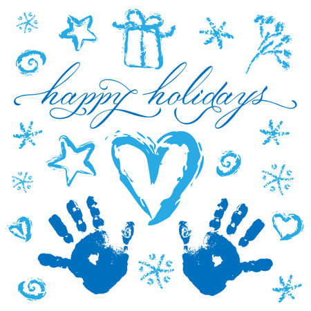 Christmas set: childrens handprints, hearts, stars, snowflakes, berries, a gift, swirls, lettering Happy Holidays. Image in blue on a white background. Love Winter. Happy New Year.
