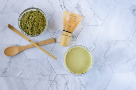 Matcha green tea is a delicious way to enjoy energy and health benefits. Matcha is a green tea leaf powder filled with antioxidants. Horizontal orientation