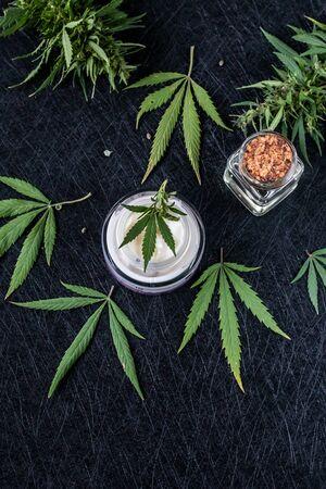 Natural cannabis cream, hemp, moisturizing CBD lotion. Cosmetic product