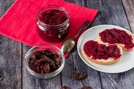 Natural, homemade beetroot jam, with vanilla and sugar. Healthy food, vegetarianism.