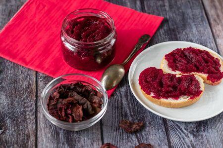 Natural, homemade beetroot jam, with vanilla and sugar. Healthy food, vegetarianism. 写真素材 - 133456132