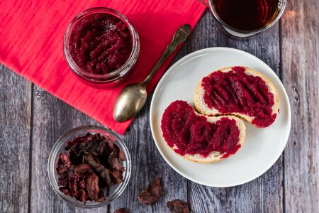 Sandwiches with natural, homemade beetroot jam, vanilla and sugar. Beetroot Chips. Healthy food, vegetarianism.