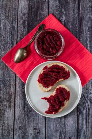 Sandwiches with natural, homemade beetroot jam, vanilla and sugar. Healthy food, vegetarianism. 写真素材 - 133456525